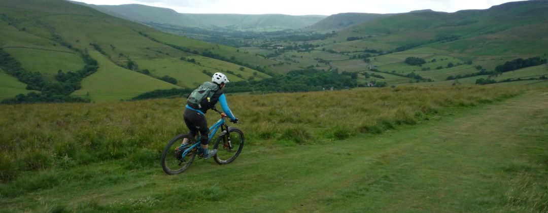 Anne on the Woolner Knoll descent above Edale Valley