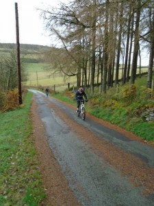 Mike and Stephen on the first long tarmac climb from Glyn Ceiriog.