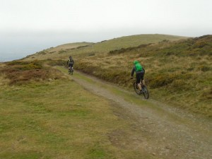 Brian and David starting the descent from the ridge of the Clwydian Range into the Vale of Clwyd.