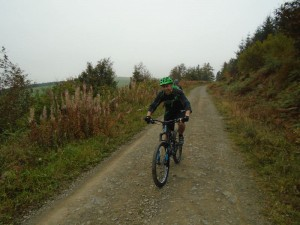 David enjoying the first descent through Moel Famau forest.
