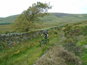 Brian climbing the double track across Bryn Castell.