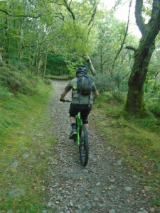 Brian on the first climb through the woods from Tal-y-Bont.