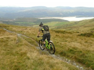 Brian starting the fast, loose and rocky Bwlch y Rhiwgyr descent.