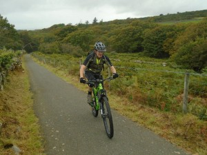 Brian on the steep tarmac climb to the start of the Bwlch y Rhiwgyr.