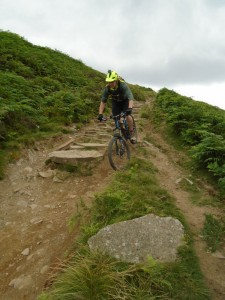 Sean descending Cut Gate into Cranberry Clough.