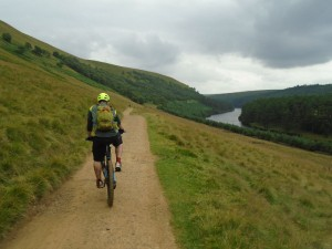 Sean starting the descent back along the reservoirs on Cold Side.