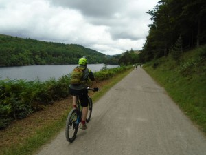 Sean riding by the Derwent Reservoir.