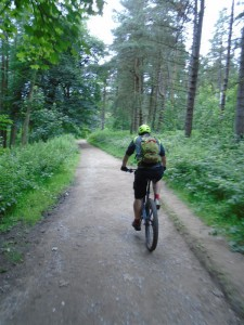 Sean riding through Langsett woods.