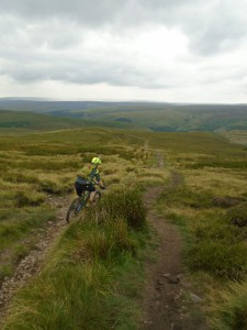 Sean starting the Cut Gate descent back to the Howden Reservoir.