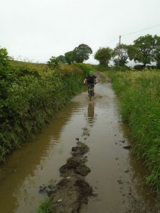 Tom in the watery ruts at Starlings Castle.