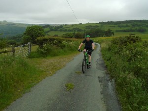 Tom on the long climb from Glyn Ceiriog.