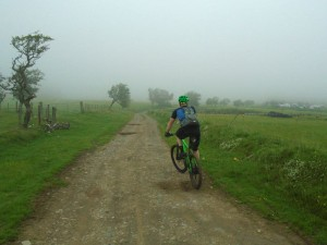 Tom starting the Llechrydau farm descent.