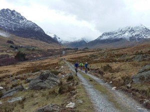 Nigel, Martin and Scott climbing from the Ogwen Valley.