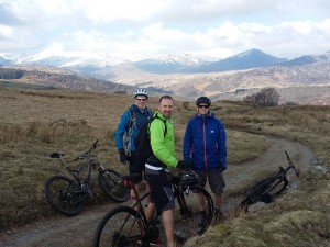 Scott, Nigel and Martin with a view across Snowdonia on the Moel Siabod trail.