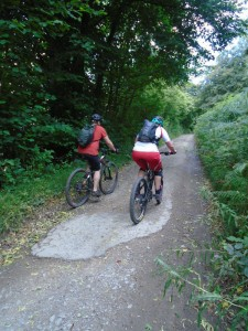 Steven and Jeanette climbing through Cwmgwnen woods.
