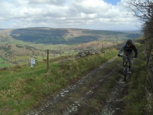 Jim above the Vale of Llangollen on the One Giant Leap climb.