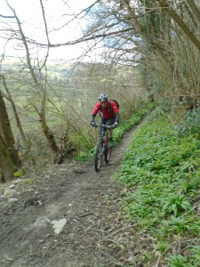 Mick on the Rectory singletrack in the Ceiriog Valley.