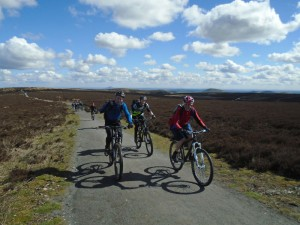 Michael, Pete and Matt on the Long Mynd ridge track.