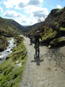 Mike and Nigel climbing through Carding Mill Valley.