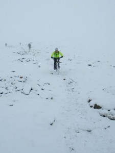 Lisa on the snowy start to the Snowdon Ranger Path.
