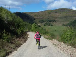Heather descending the Fingers track in Clwyd Forest.