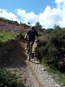 Richard descending past Cilcain Reservoir.