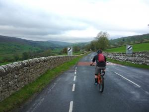 Karl riding up Swaledale from Reeth.
