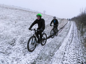 Andy and Reece on the Gyrn Moelfre climb.