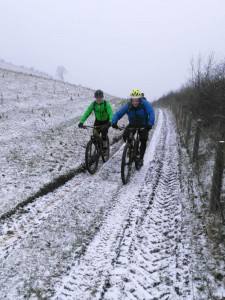 Matty and Brian on the Gyrn Moelfre climb.