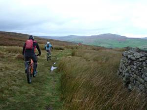 Karl and Brian on the Harker singletrack in Swaledale.