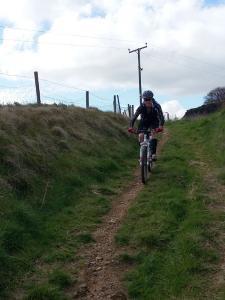 Laurence descending the Pennine Bridleway.