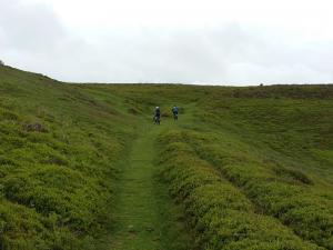 Anne, Geriant and Laurence on the steeper finish to the Glider Club climb.
