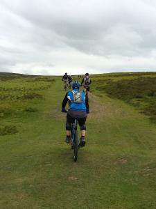Geriant, Laurence, Chris and Anne heading to the Long Mynd ridge track.