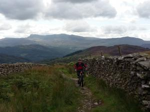 John Stoker on the lower section of the Braich climb on the Pont Scethin route.