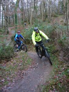Martin and Andy on the Mocha singletrack of the Gwydir Mawr trail.