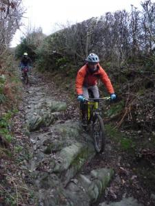 Chris and Mark on the Plas onn descent in the Ceiriog Valley.