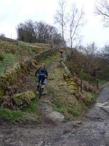 Nick and Mark starting the Golf Course singletrack above Todmorden.