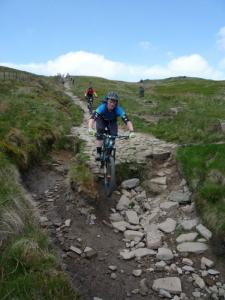 Alistair descending Jacob's Ladder in the Peak District.