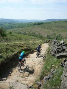 Stu and Nick on the big rock slabs of Roych Clough descent.
