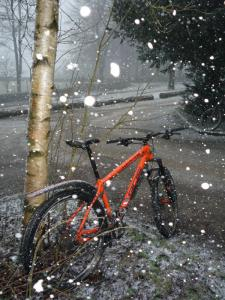 My Whyte 905 and some big snowflakes at the Trentabank reservoir car park.