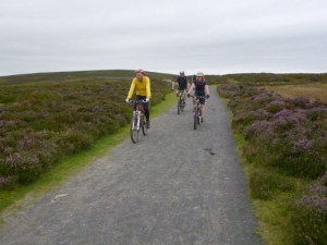 Col, Anne and Chris on the Long Mynd ridge track.