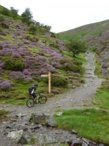 Reece starting the steep Carding Mill Valley climb.