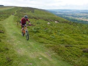 Jason at the back of glider club on Long Mynd.