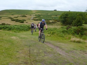 John finishing the Cross Dyke descent on Long Mynd.