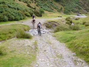 Rich negotiatiing one of the Carding Mill Valley fords.