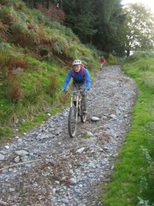 Ian on the fast and rocky Blaen y cwm descent.