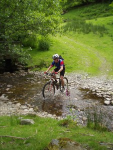Paul crossing the Blaen-y-cwm ford.