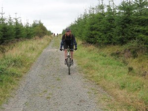 Ken approching the Caemor Wood crossroads.