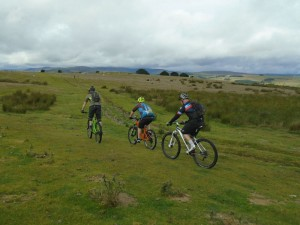 Brian, Matty and Steve following the ruts across Pen y Gwely.