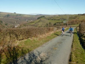 Paul and Tom on the long climb from Glyn Ceiriog.